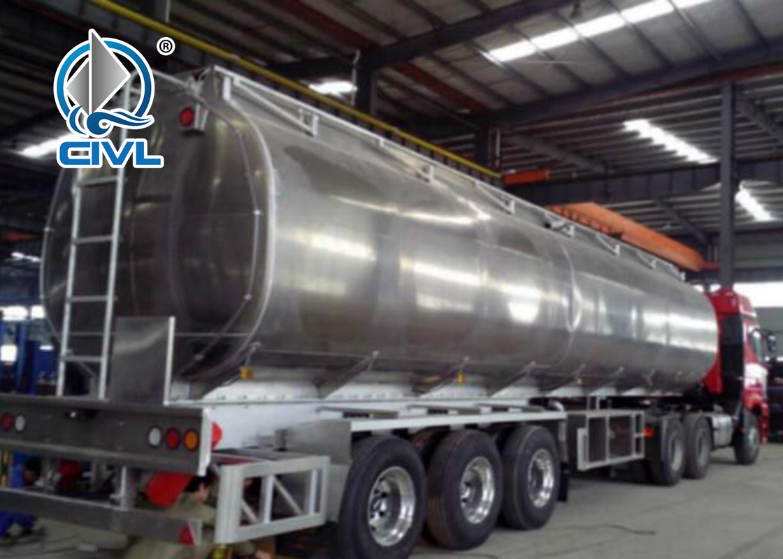 60CBM Oil Tanker Semi Trailer Trucks , Three Axle Fuel Tanker Aluminum Semi Trailer